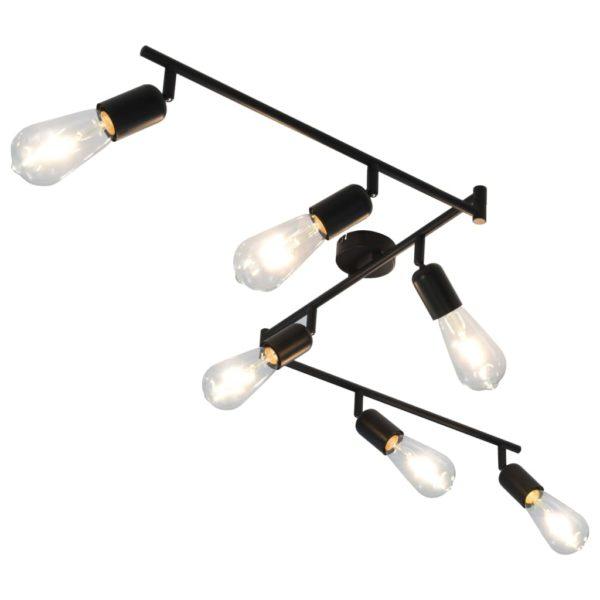 6-Wege-Spotlicht mit Glühlampen 2 W Schwarz 30 cm E27