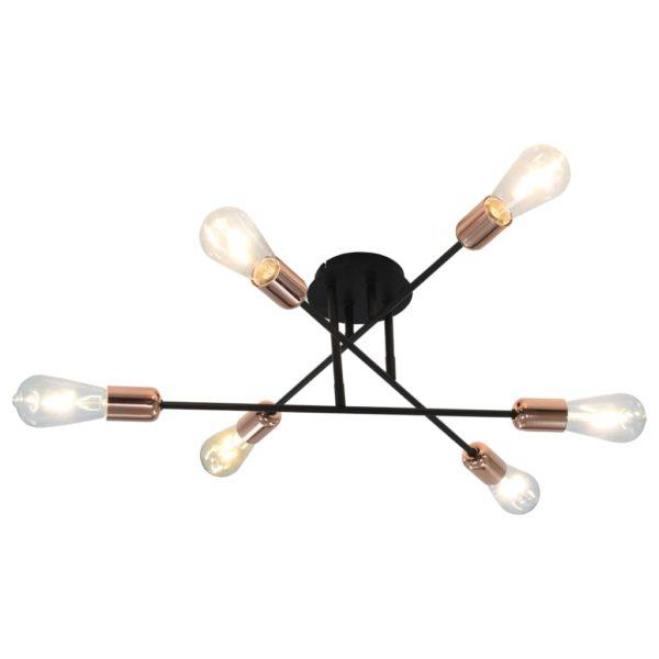 Deckenleuchte mit Glühlampen 2 W Schwarz und Kupfer E27