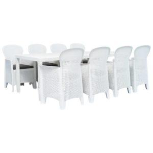 9-tlg. Garten-Essgruppe Kunststoff Weiß Rattan-Optik