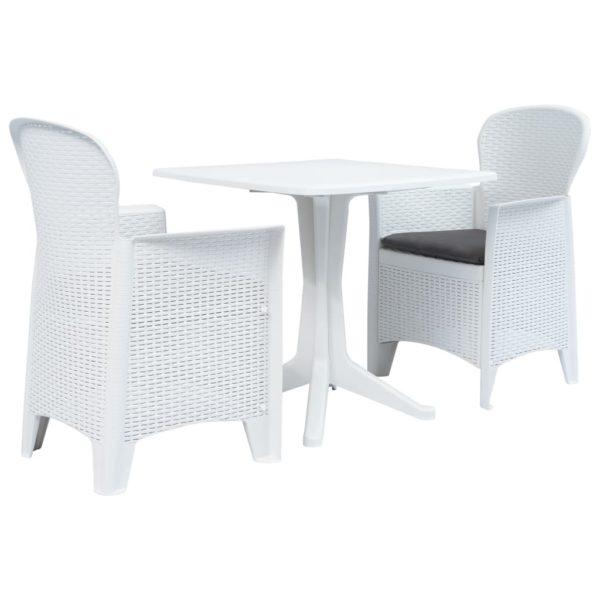 3-tlg. Bistro-Set Kunststoff Weiß