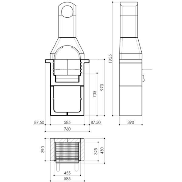 Holzkohle-Grillkamin aus Beton mit Rauchabzug