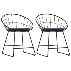 Esszimmerstühle mit Kunstledersitzen 2 Stk. Schwarz Stahl