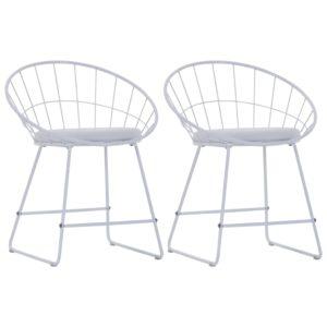 Esszimmerstühle mit Kunstledersitzen 2 Stk. Weiß Stahl