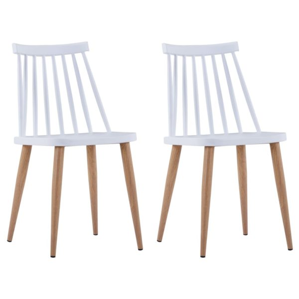 Esszimmerstühle 2 Stk. Weiß Kunststoff