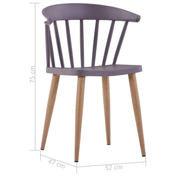 Esszimmerstühle 2 Stk. Grau Kunststoff