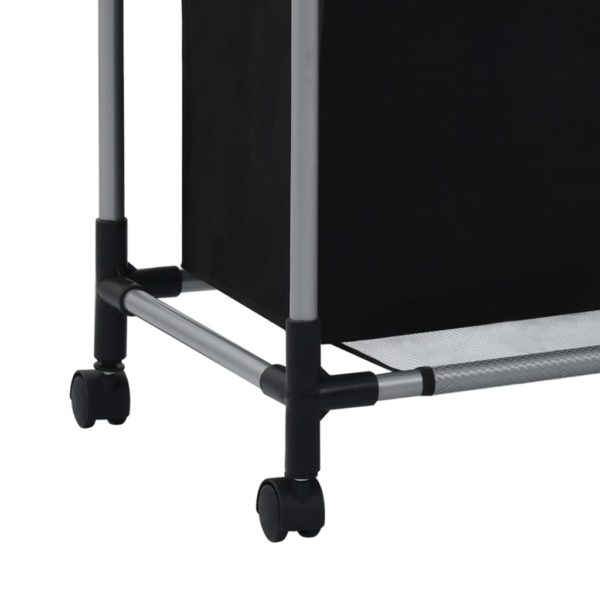 Wäschekorb mit 3 Taschen Schwarz Stahl