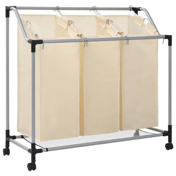 Wäschekorb mit 3 Taschen Creme Stahl