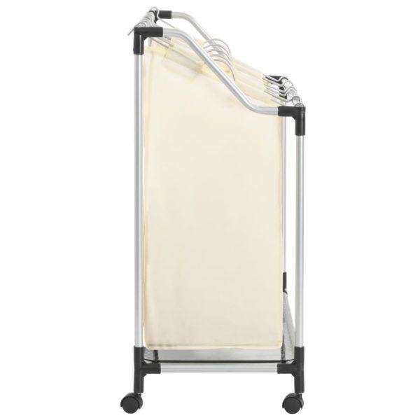 Wäschekorb mit 4 Taschen Creme Stahl