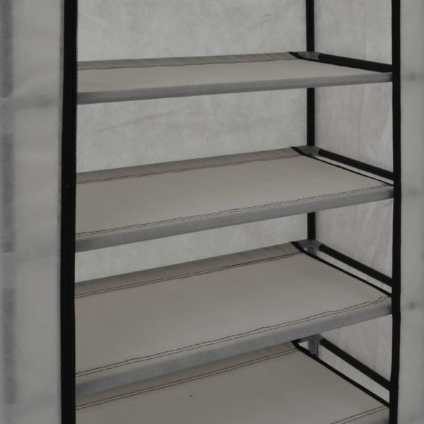 Schuhschrank mit Abdeckung Grau 58 x 28 x 106 cm Stoff