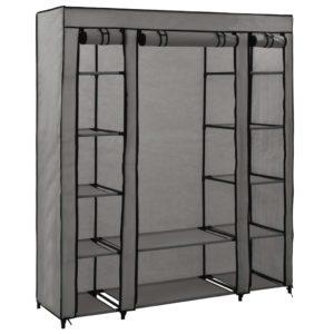 Stoffschrank mit Fächern Kleiderstangen Grau 150x45x176cm
