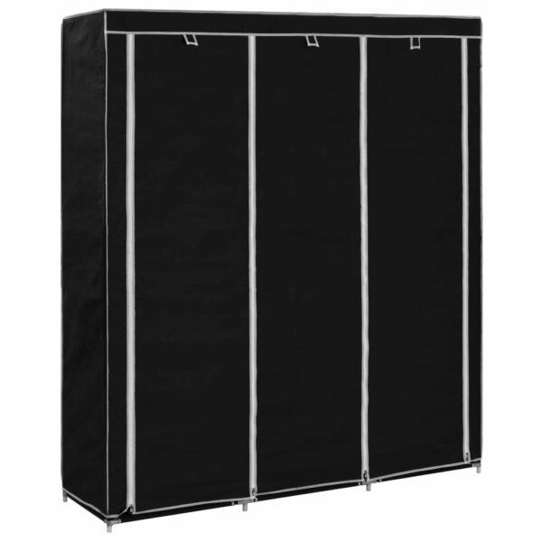 Kleiderschrank mit Fächern Stangen Schwarz 150x45x175cm Stoff
