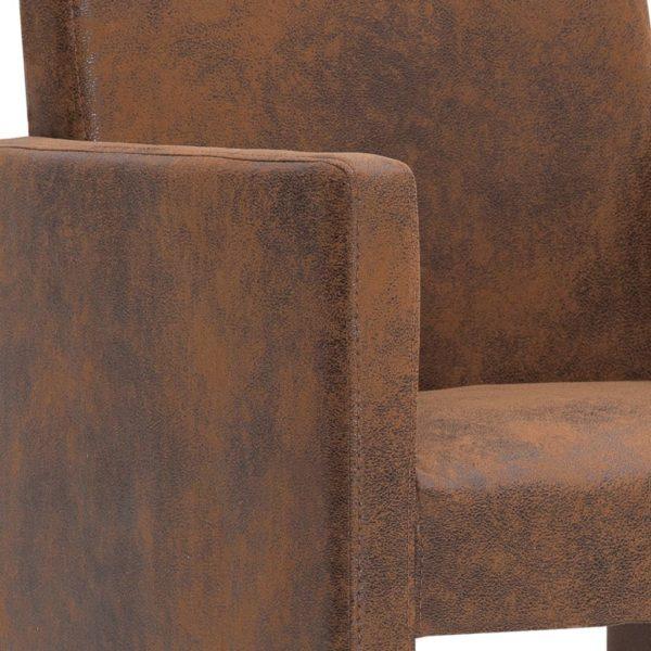 Esszimmerstühle 2 Stk. Braun Wildleder-Optik