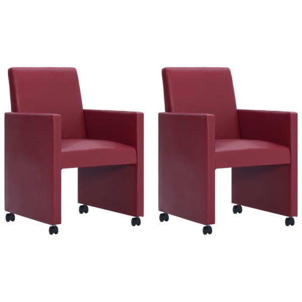 Esszimmerstühle 2 Stk. Weinrot Kunstleder