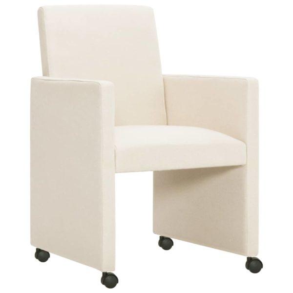 Esszimmerstühle 2 Stk. Cremeweiß Stoff