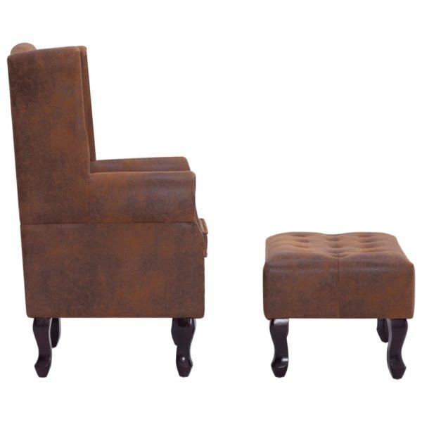 Chesterfield-Sessel und Fußhocker Braun Wildleder-Optik