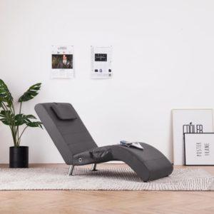 Massage Chaiselongue mit Kissen Grau Kunstleder