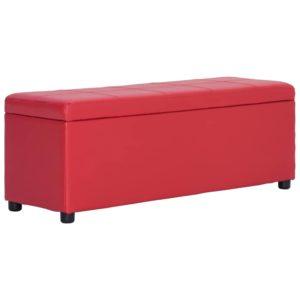 Bank mit Staufach 116 cm Rot Kunstleder