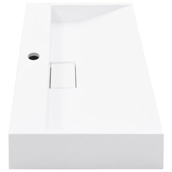 Waschbecken 60 x 38 x 11 cm Mineralguss/Marmorguss Weiß