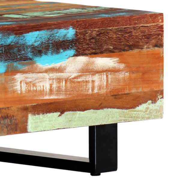 Couchtisch 120×50×30 cm Recyceltes Massivholz und Stahl