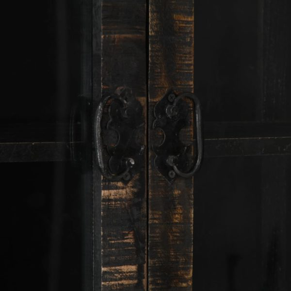 Highboard Schwarz 90×40×180 cm Massivholz Mango