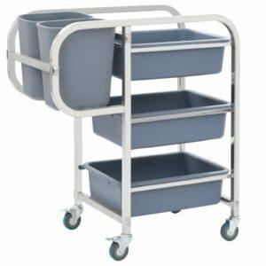 Küchenwagen mit Kunststoffbehältern 87×43,5×92 cm
