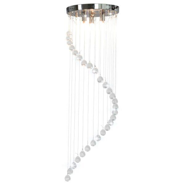Deckenleuchte mit Kristallperlen Silbern Spirale G9