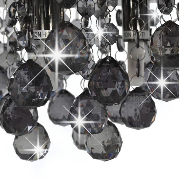 Deckenleuchte mit Rauchschwarzen Perlen Schwarz Rund G9
