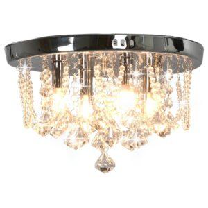 Deckenleuchte mit Kristallperlen Silbern Rund 4x G9 Glühbirnen