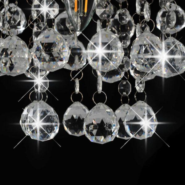 Deckenleuchte mit Kristallperlen Silbern Rund E14