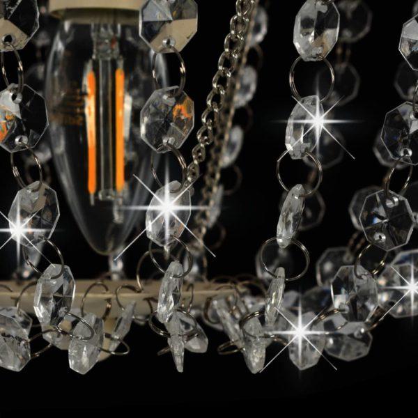 Deckenleuchte mit Kristallperlen Weiß Rund E14