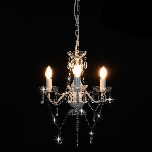 Kronleuchter mit Perlen Weiß Rund 3×E14