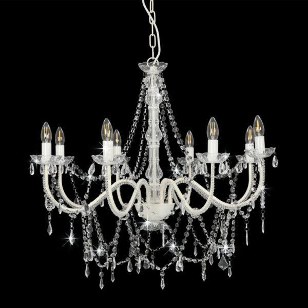 Kronleuchter mit Perlen Weiß 8 x E14-Fassungen