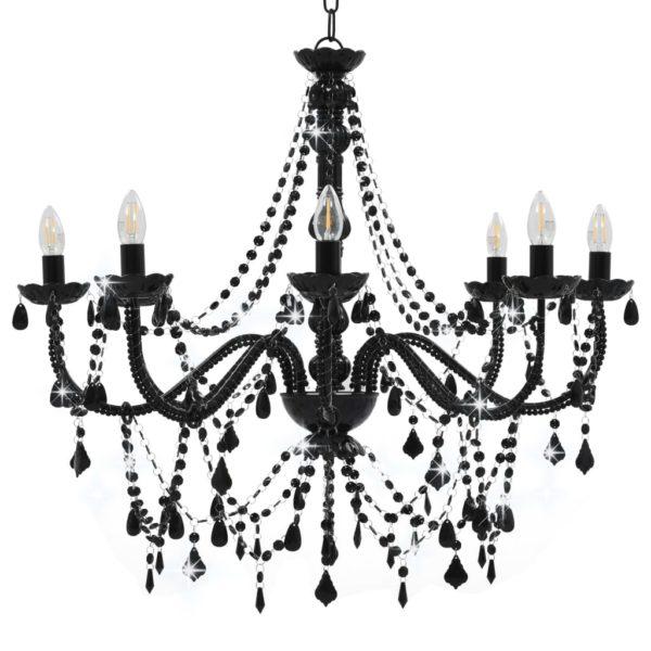 Kronleuchter mit Perlen Schwarz 8 x E14-Fassungen