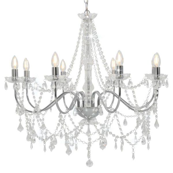 Kronleuchter mit Perlen Silbern 8 x E14-Fassungen