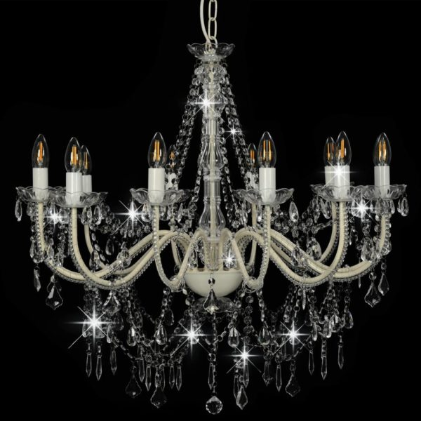 Kronleuchter mit Perlen Weiß 12 x E14-Fassungen