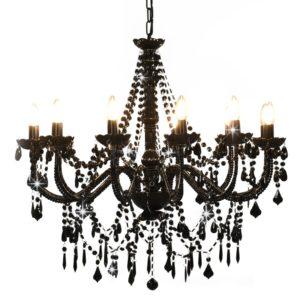 Kronleuchter mit Perlen Schwarz 12 × E14-Fassungen