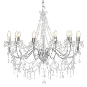 Kronleuchter mit Perlen Silbern 12 x E14-Fassungen