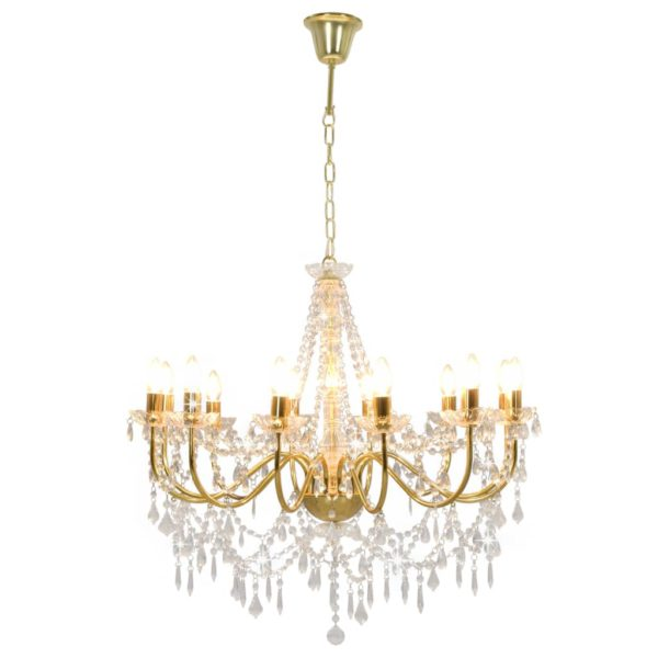 Kronleuchter mit Perlen Golden 12 x E14-Fassungen