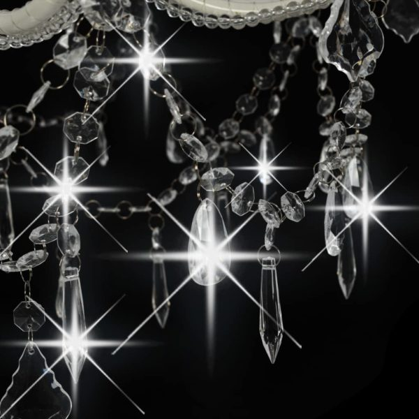 Kronleuchter 2-lagig Weiß 15×E14-Glühbirnen