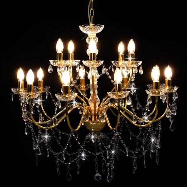 Kronleuchter 2-lagig Golden 15×E14-Glühbirnen