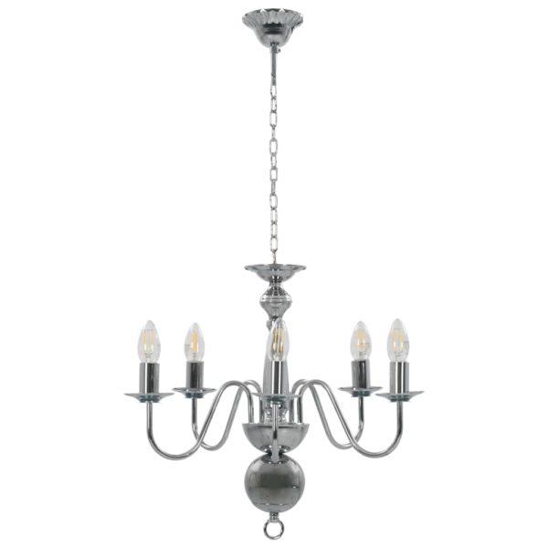Kronleuchter Silbern 5×E14-Glühbirnen