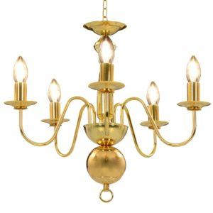 Kronleuchter Golden 5 x E14-Glühbirnen