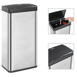 Automatischer Sensor-Mülleimer Silbern Schwarz Edelstahl 80 L