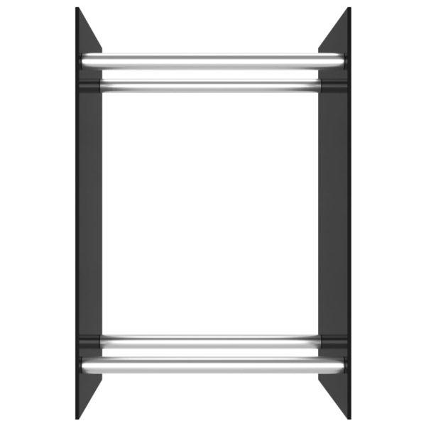 Brennholzregal Schwarz 40 x 35 x 60 cm Glas