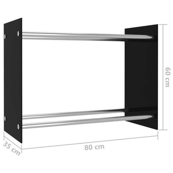 Brennholzregal Schwarz 80 x 35 x 60 cm Glas