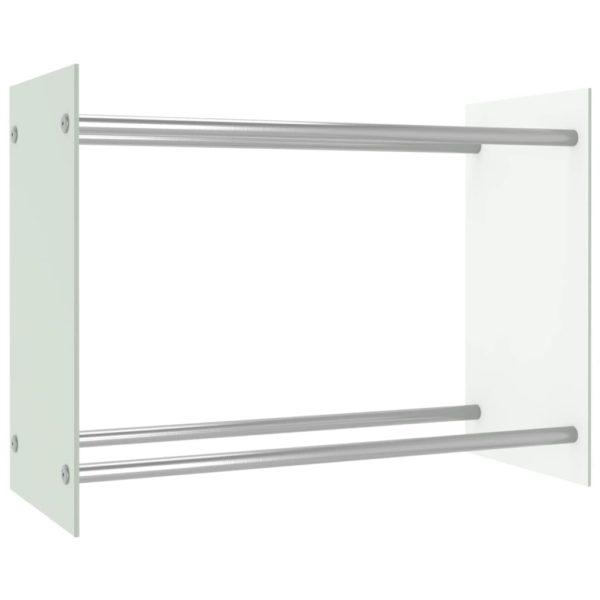 Brennholzregal Weiß 80 x 35 x 60 cm Glas