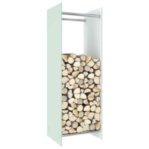 Brennholzregal Weiß 40 x 35 x 120 cm Glas