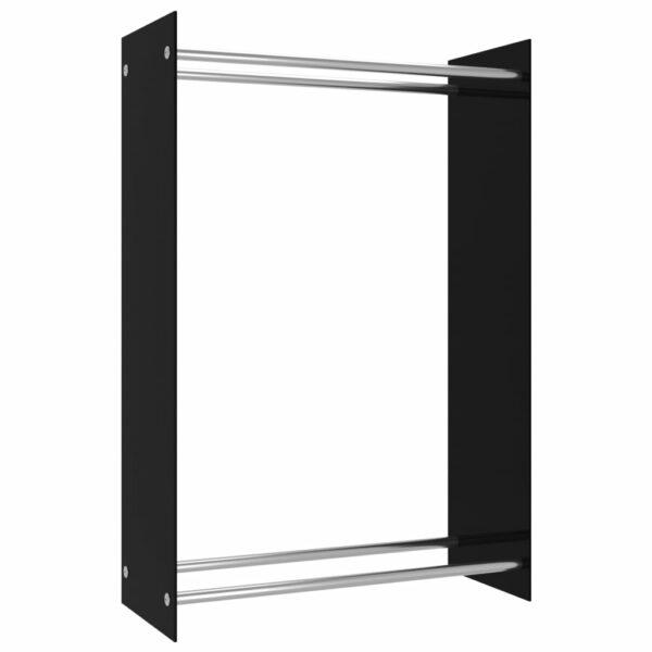 Brennholzregal Schwarz 80 x 35 x 120 cm Glas
