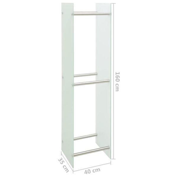 Brennholzregal Weiß 40 x 35 x 160 cm Glas