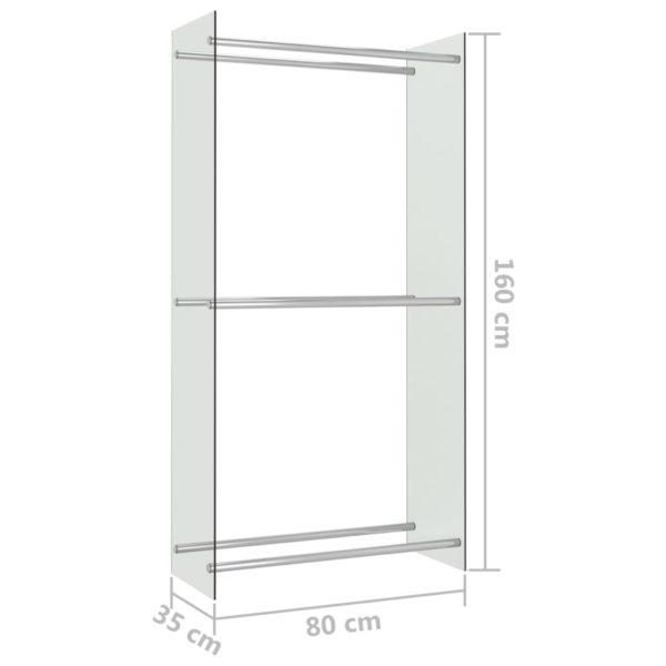 Brennholzregal Transparent 80 x 35 x 160 cm Glas